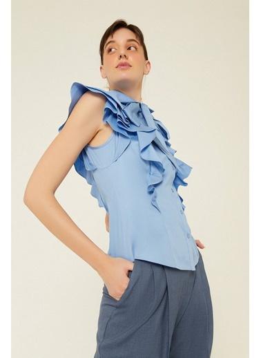 Rue Fiyonk Ve Volan Detaylı Gömlek Mavi
